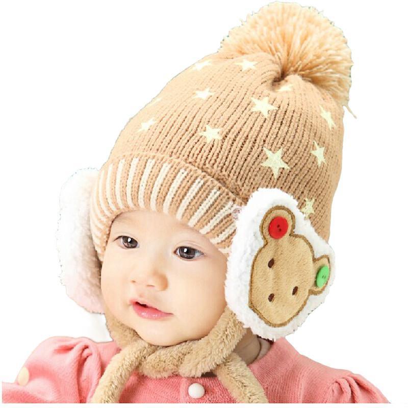 公主妈妈韩版加绒小熊护耳帽 米色 均码