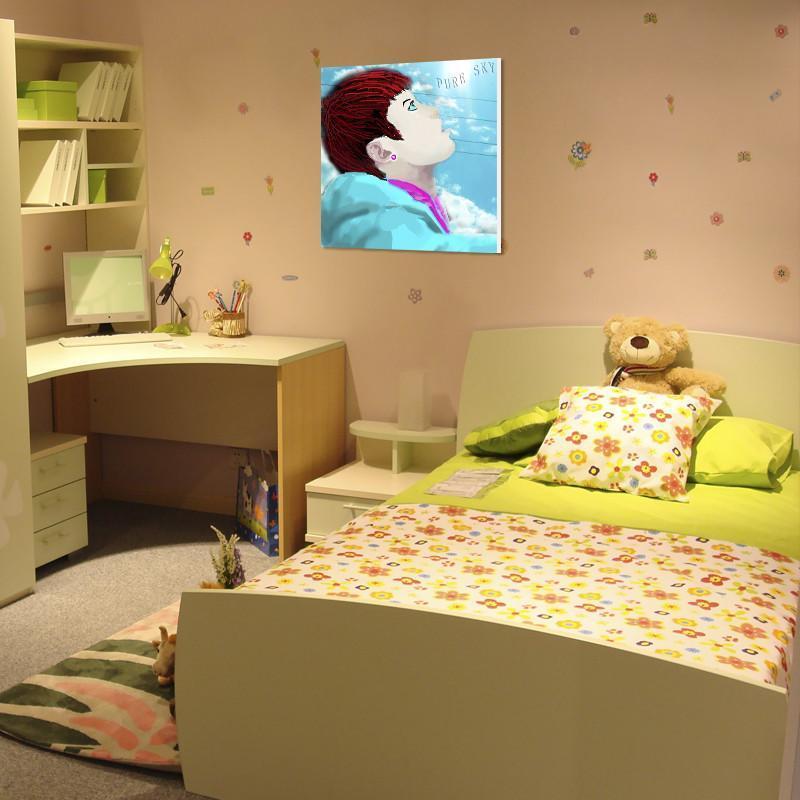 床头墙画 男孩卧室无框画装饰画 卡通壁画 环保挂画 可爱