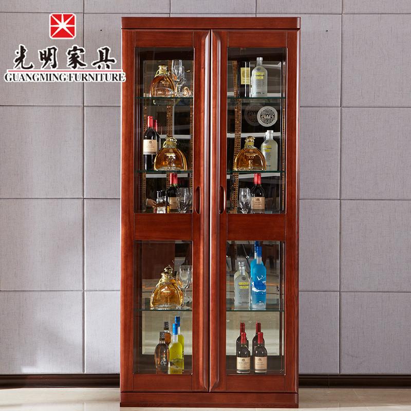 光明家具 现代简约实木酒柜 水曲柳餐边柜装饰柜 玻璃窗展示柜 时尚