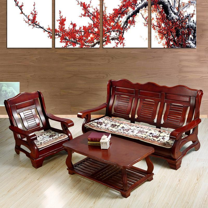 添富贵家纺 实木沙发垫 交织拉舍尔实木沙发坐垫 2平边驼色 55*55cm