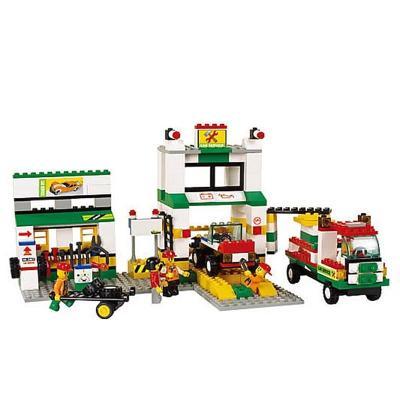 小鲁班 积木拼插玩具 模拟城市 汽车维修站拼插模型 414块积木 m38-b