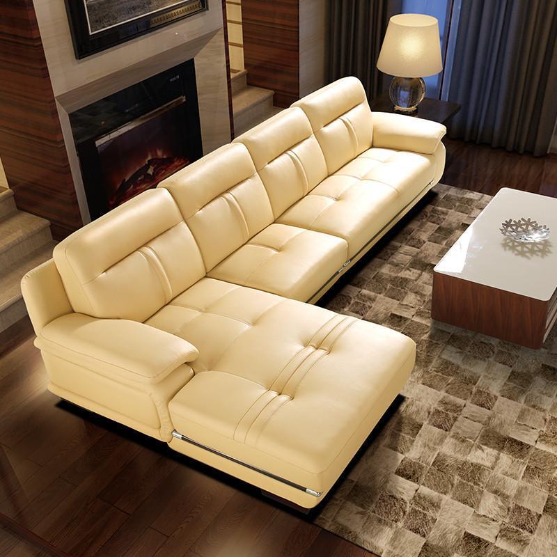 乐和居 沙发 真皮沙发 客厅时尚沙发 红木镶边 简欧沙发 米黄色 pys