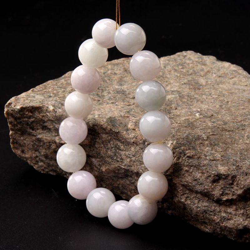 玉中皇 天然缅甸翡翠a货 圆珠手链 白色高清实拍图