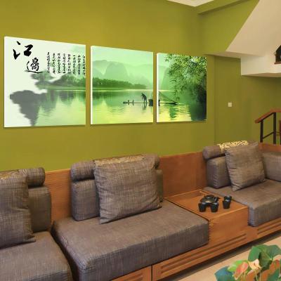 沙发背景墙装饰画 江边渔夫无框画客厅壁画三联山水