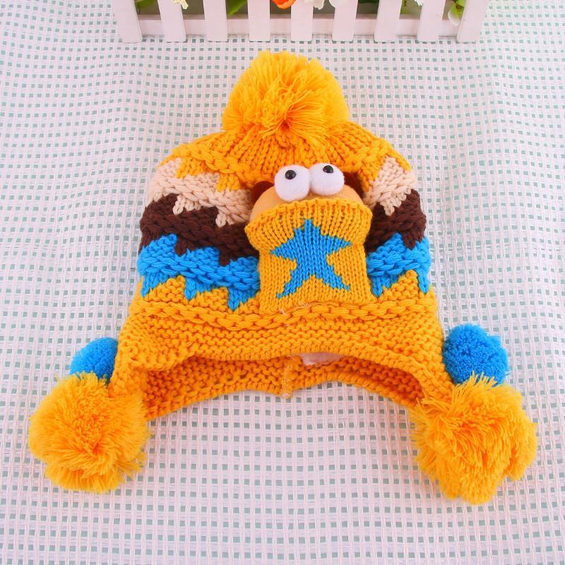 韩版婴儿帽子秋冬宝宝帽子护耳帽儿童毛线帽子男女童帽小孩帽0035