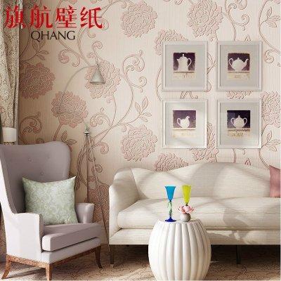 欧式壁纸 3d立体植绒无纺布卧室客厅背景墙纸mno-m