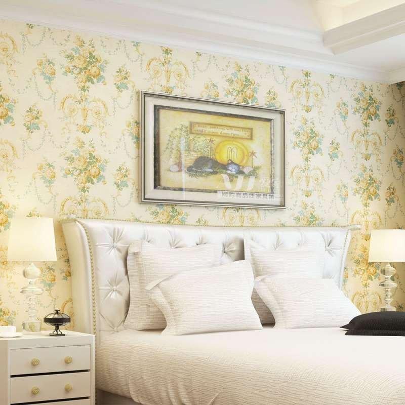 旗航壁纸 美式田园风碎花壁纸 无纺布墙纸 卧室客厅墙纸温馨qht-f