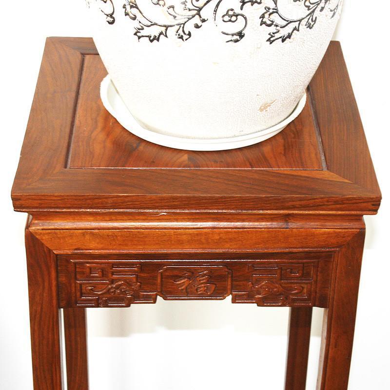 吕可可 红木家具花梨木仿古客厅 实木质 双层 实木花架 花盆架子多层