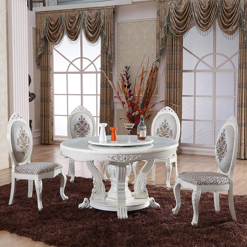 帝轩名典 欧式餐桌象牙白描银圆餐台 实木框架天然大理石餐桌高清实拍
