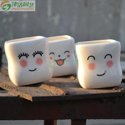 笑脸系列 小清新多肉花盆 方形白瓷盆 可爱简约带底孔 2个