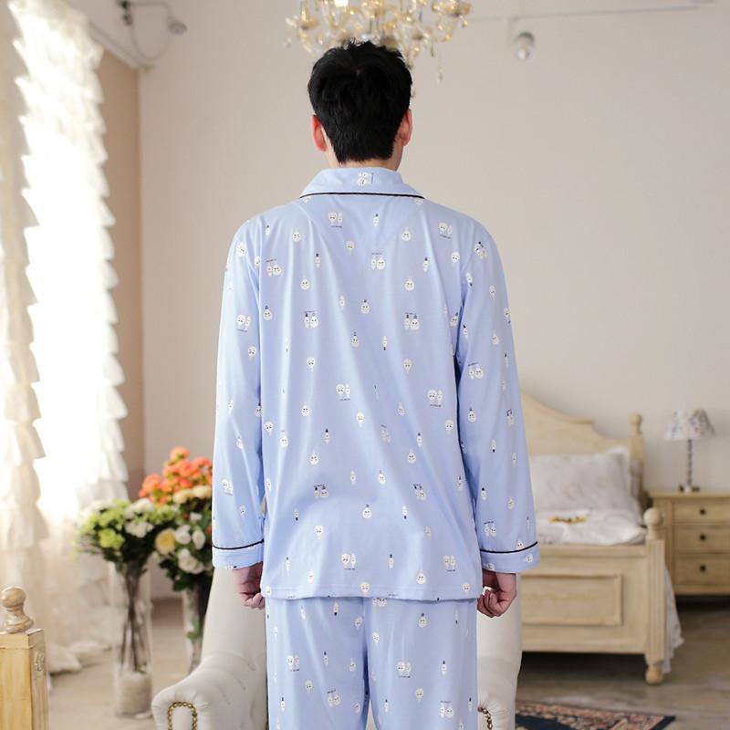 卡通可爱情侣睡衣女纯棉开衫长袖加大码男家居服套装