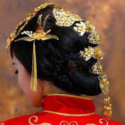 水舞新娘原创 周海媚明星同款 中式秀禾服古装龙凤袍头饰 礼盒装图片