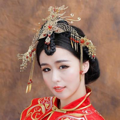 水舞新娘原创 古装头饰套装中式旗袍秀禾服配饰造型 凤凰于飞图片