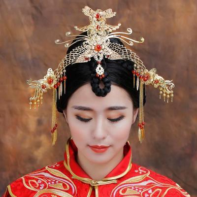 水舞新娘原创 古装头饰套装中式旗袍秀禾服配饰造型 凤凰于飞
