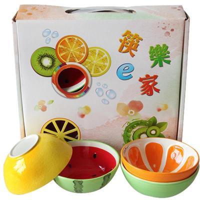 结婚回礼儿童可爱手绘水果西瓜碗米饭碗甜品碗创意陶瓷器餐具套装商品