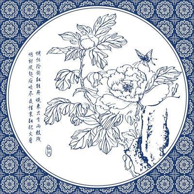 现代中式客厅装饰画 沙发背景墙挂画仿青花瓷壁画