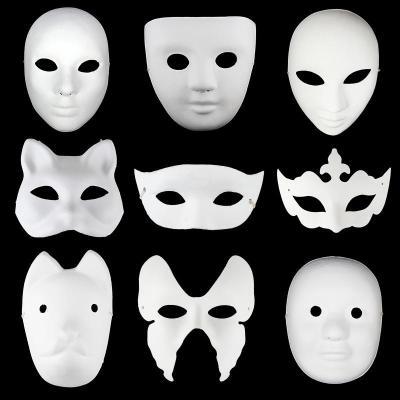 纸浆自画手绘diy纯白面具