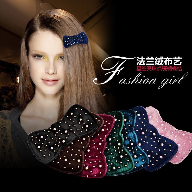新款可爱韩版布艺水钻刘海贴无痕发帖甜美气质