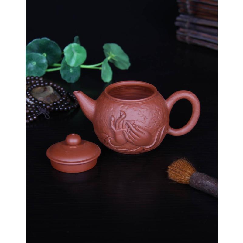 【郑品(zpin)茶具】郑品 堆雕观音手手工雕刻紫砂壶