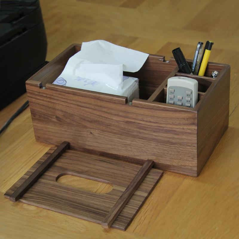 钰涵居纯北美黑胡桃木创意多功能纸巾盒实木质时尚