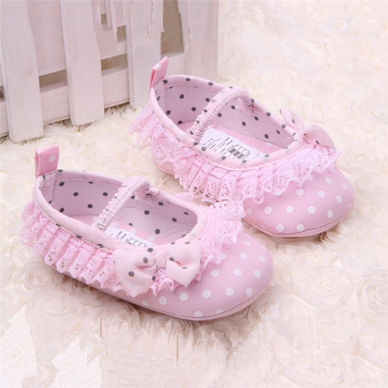 小童鞋春秋夏婴幼儿学步鞋女宝宝鞋子防滑圆点蕾丝花边婴儿鞋软底透气
