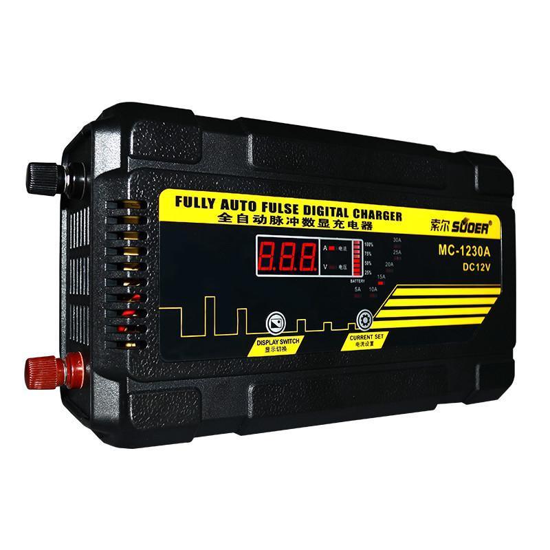 索尔12v汽车电瓶充电器 家用蓄电池充电机修复功能12v30a 充电器