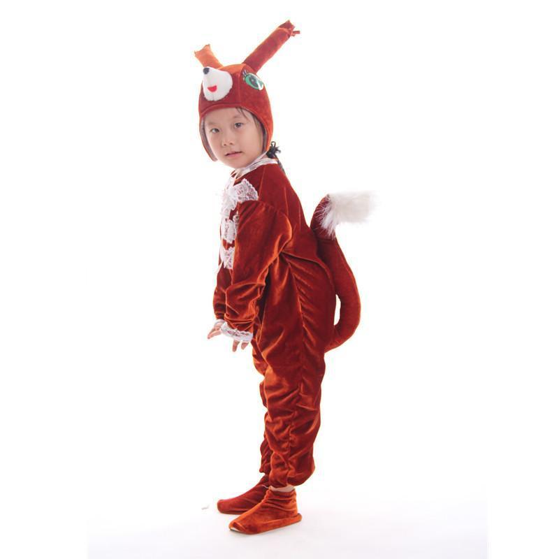 儿童动物服装幼儿冬季长袖新款小松鼠表演服元旦亲子游戏演出服饰 浅