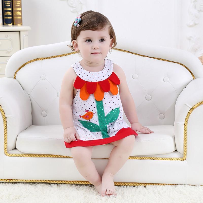 夏季款女宝宝公主范圆领花朵造型可爱裙子无袖连衣裙幼童小童裙 红色