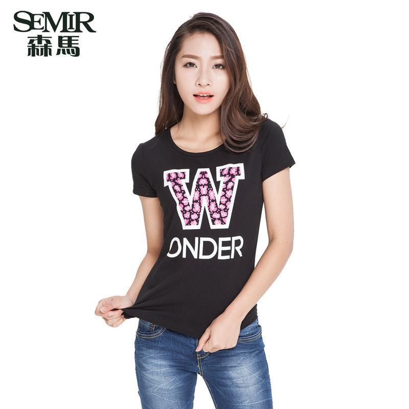 森马2015夏装新款短袖t恤女装韩版圆领套头印花字母短袖t恤衫纯棉图片