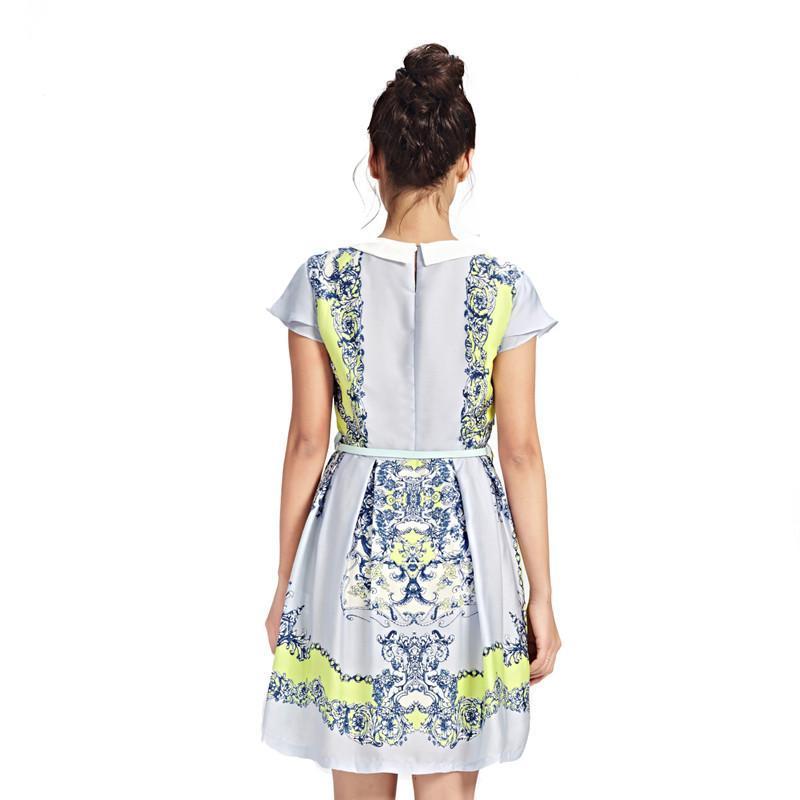 森马2015夏装新款连衣裙女装娃娃领中长款裙子女士雪纺连衣裙 蓝色调图片