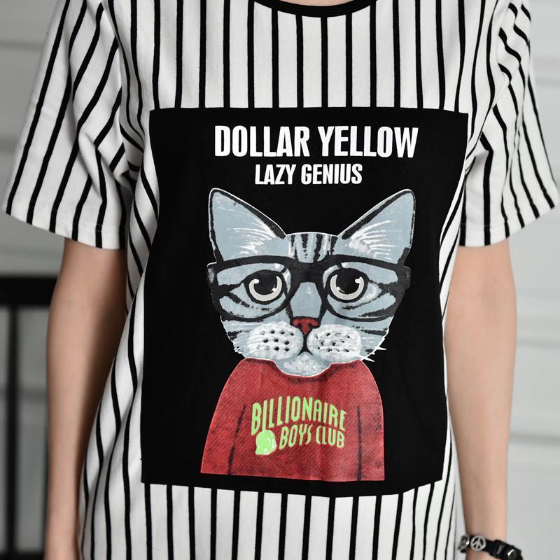 丽宾2015夏季新款三分袖黑白条纹大码带印花森女