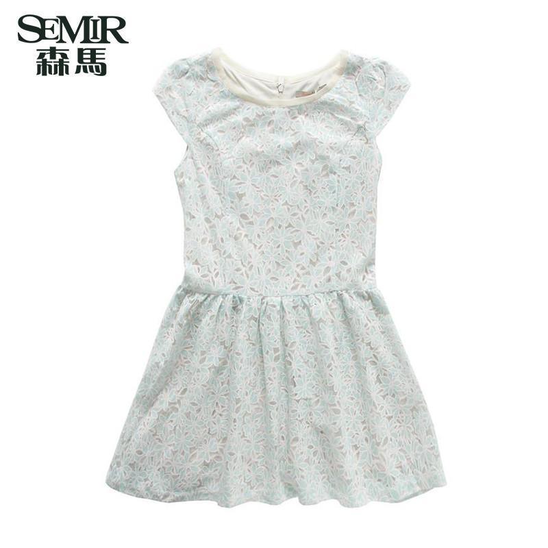 森马夏装新款短袖连衣裙女装韩版镂空碎花蕾丝拼接圆领中长款裙子 白