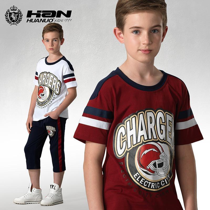 中大童男装休闲短袖套装青少年儿童运动服 春夏童装 红色 140cm