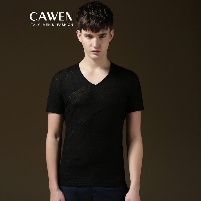 cawen 卡文2015夏季新款男士男装渐变时尚休闲纯棉纯色短袖v领男t恤