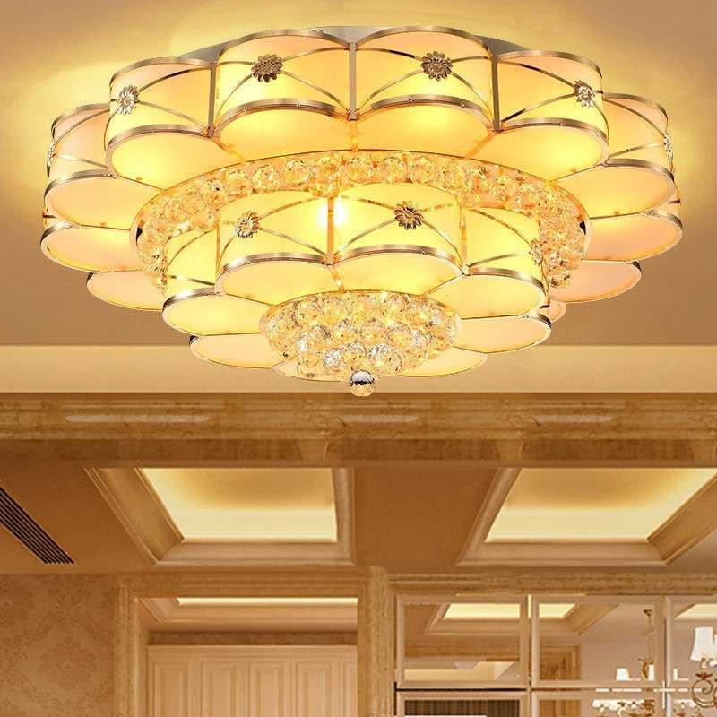 凯晶堡欧式奢华led吸顶灯金色s金水晶灯客厅灯具圆形