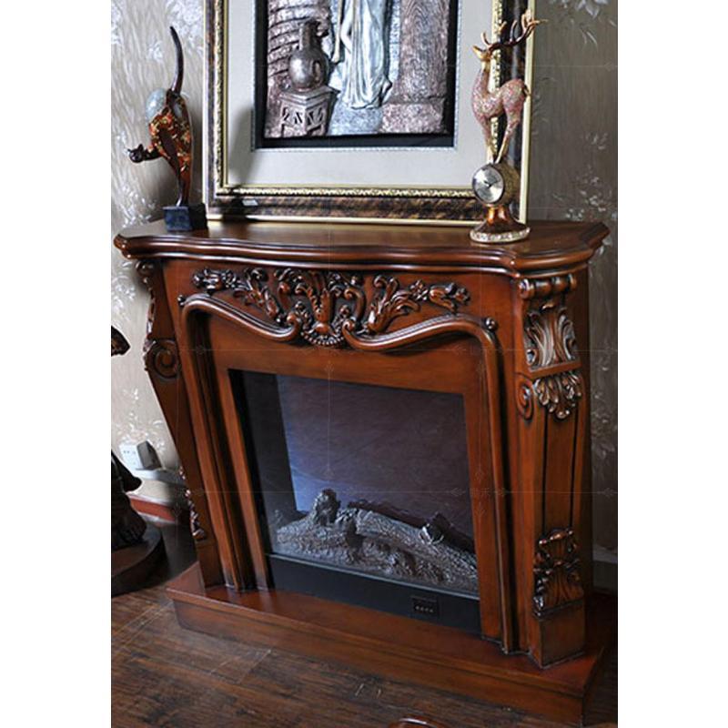 2米深色欧式壁炉装饰柜美式电视柜实木壁炉架实木