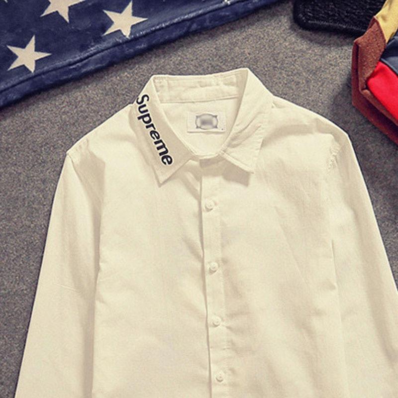 韩版时尚人物头像印花休闲衬衫男款字母