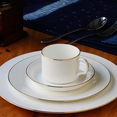 【北府瓷业餐具】欧式陶瓷金边西餐牛排盘子套装酒店