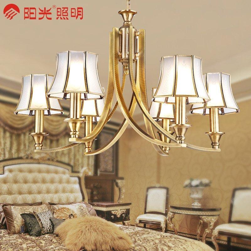 阳光照明 欧式吊灯客厅灯具全铜灯饰铜吊灯 美式铜灯餐厅艺术吊灯 qt图片