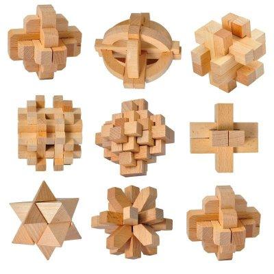 一点木制孔明锁鲁班锁套装 儿童休闲益智解锁玩具一点鲁班锁魔方/迷宫