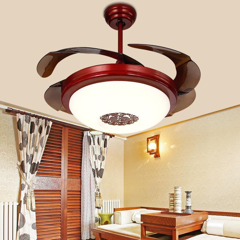 中式仿古隐形风扇灯 欧式带led风扇吊灯餐厅客厅复古吊扇灯可变光 42
