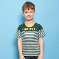 东方鱼牛仔时尚品牌男童风衣圆领T恤2015夏女大童条纹童装图片