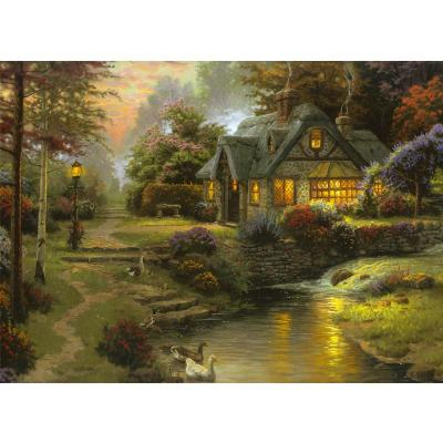 意特朗木质 500片拼图 成人益智拼图玩具 风景油画 装饰画 林中小屋带
