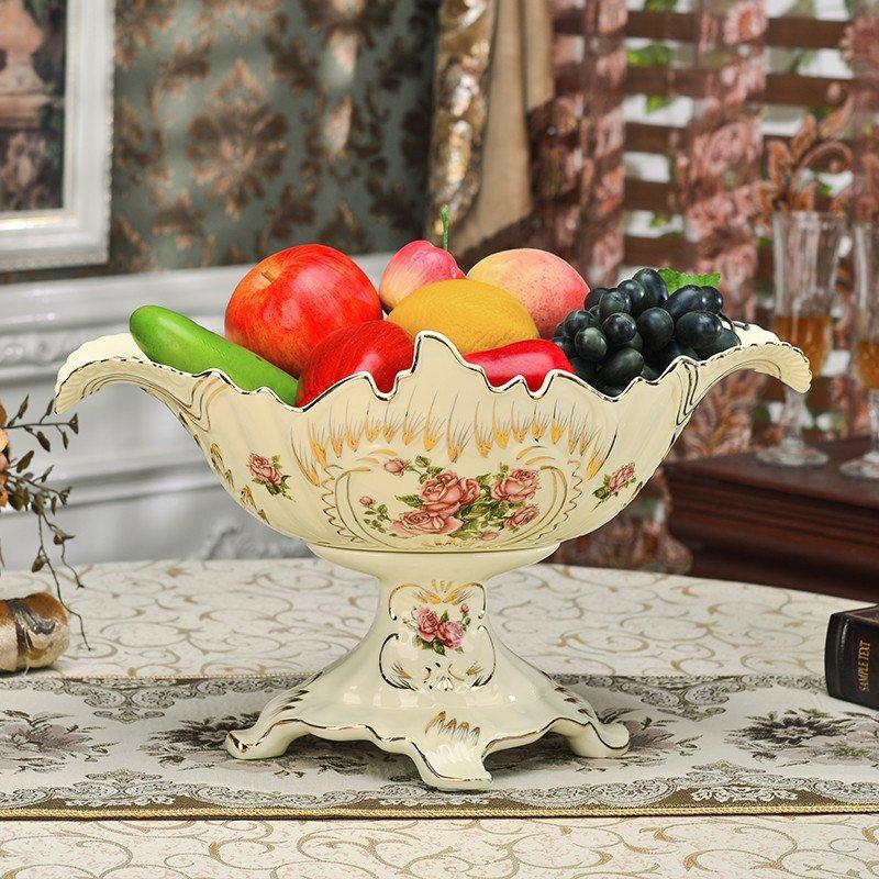 12寸欧式奢华水果盘 欧式水果盘 托盘面包篮时尚创意干果盆陶瓷餐具