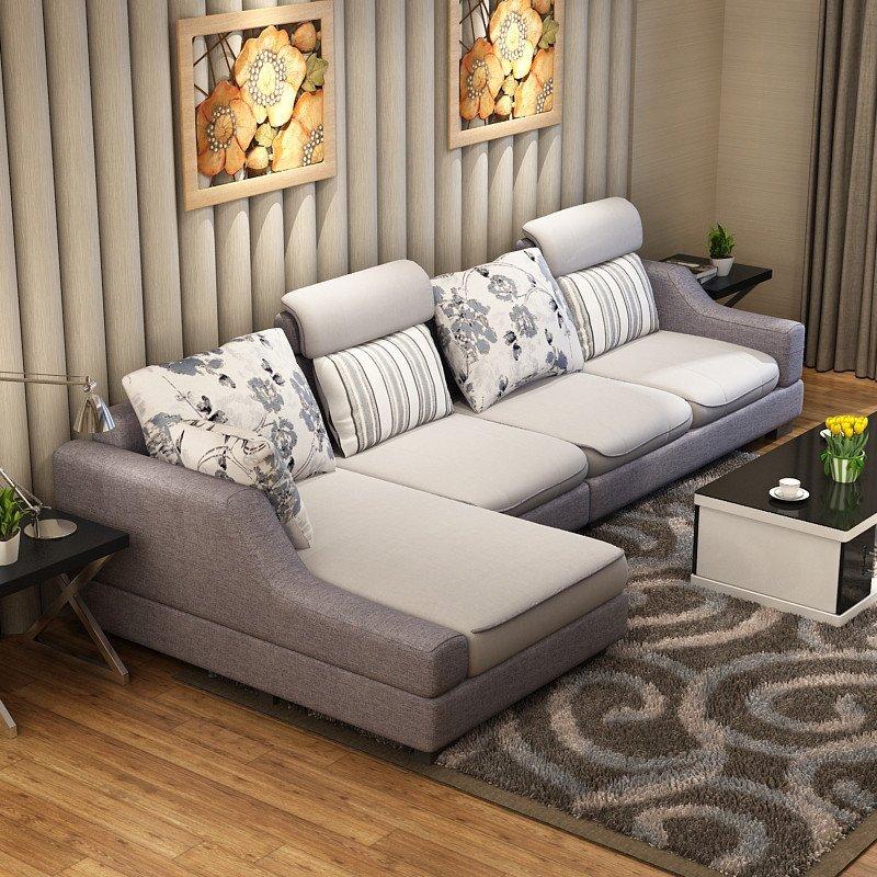 领梦新款布艺沙发 现代简约木架休闲双三人懒人贵妃客厅家具组合 单人