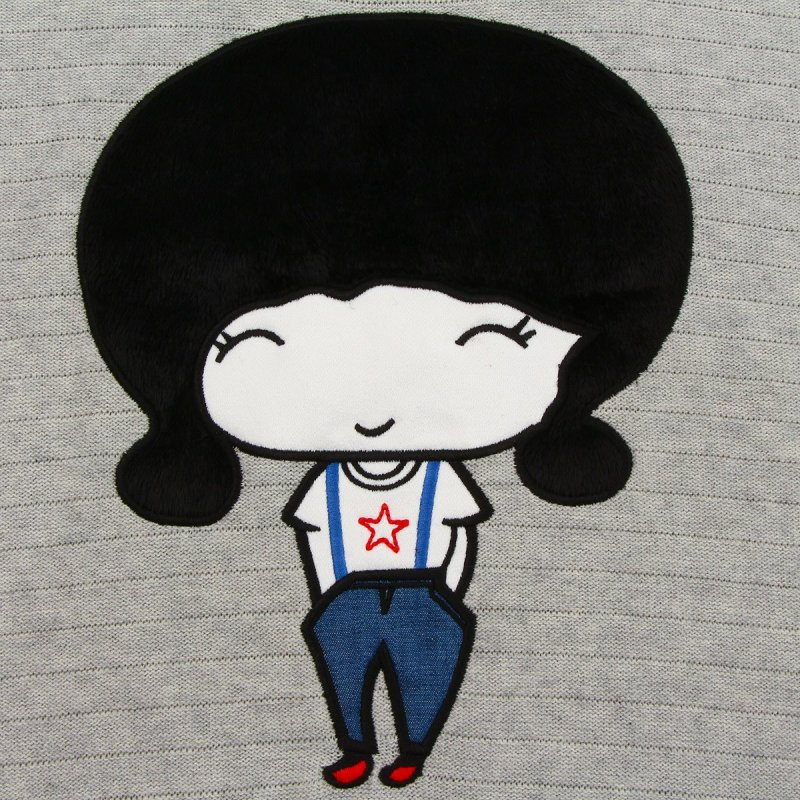 女士卡通人物图案绣花套头潮
