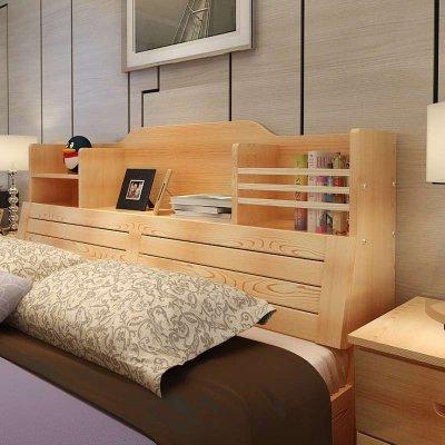 领梦家具 现代简约 实木床松木床 儿童床双人床 书架储物高箱床