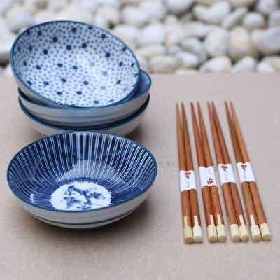 哲品家居 景德镇陶瓷 白瓷罗纹钵四碗四筷餐具礼品套装图片