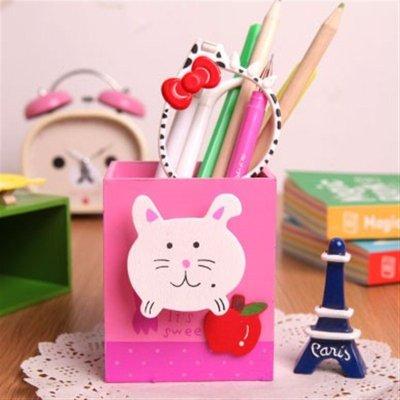 创意木质卡通动物笔筒