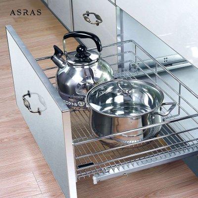 阿萨斯欧式不锈钢线拉篮厨房橱柜双层抽屉置物碗碟架
